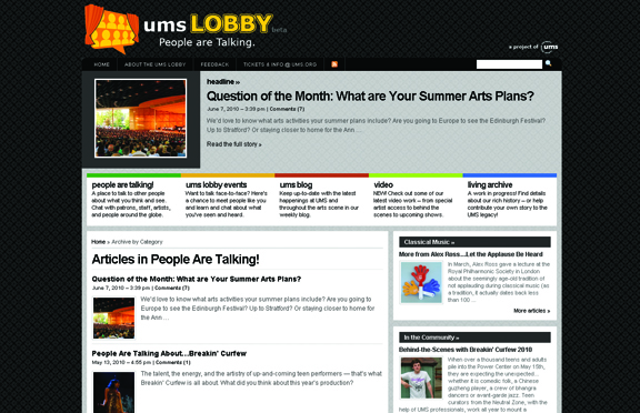 A screen capture from the UMS Lobby website shortly after its launch.