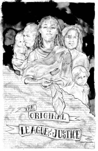 """The Original League of Justice"" by Janine Macbeth, the winner of the Akonadi Foundation's 2012 Racial Justice Poster Contest"
