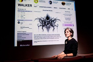 Director Olga Viso and a projection of the new Walker website.