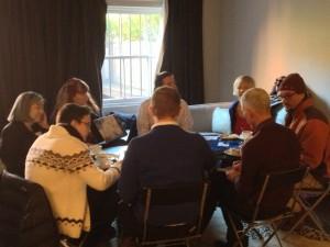 Guests join organization representatives in conversation