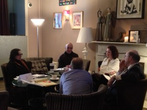 Group conversation with provocative guests