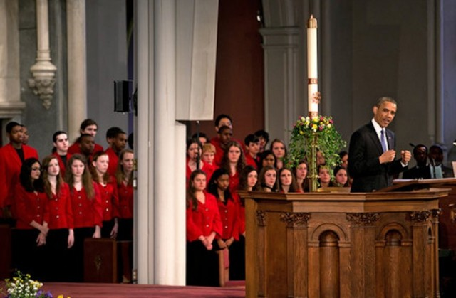 The Boston Children's Chorus singing at a service with President Obama.