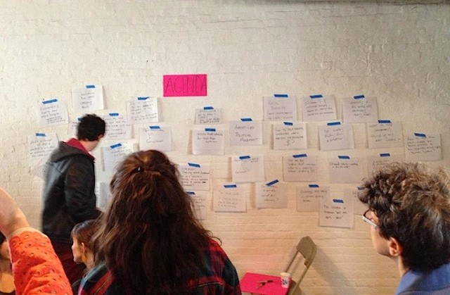 "An ""agenda wall"" at a Culturebot event."