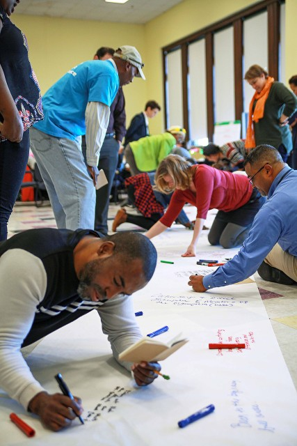 Lab participants in Providence, RI write out their hopes for community change